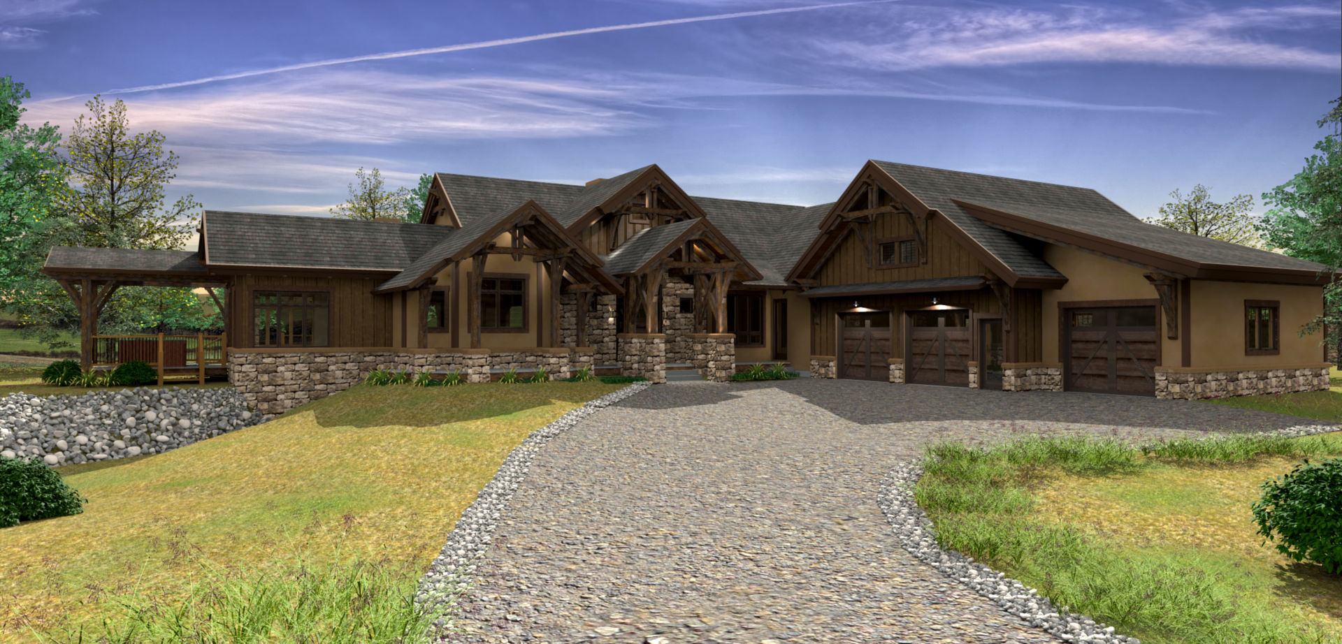 Design hidden valley ranch for Ranch style timber frame homes