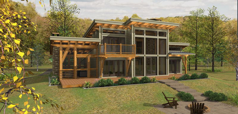 Sweetwater cabin timber frame design for Canadian house plans with basements