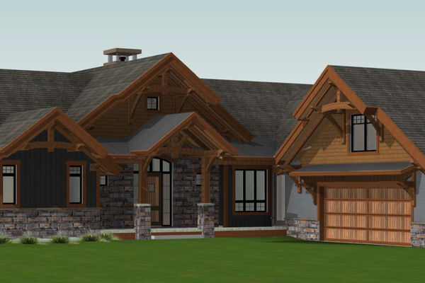 Butternut-Lodge-Clarksburg-Ontario-Canadian-Timberframes-Design-Front-Perspective
