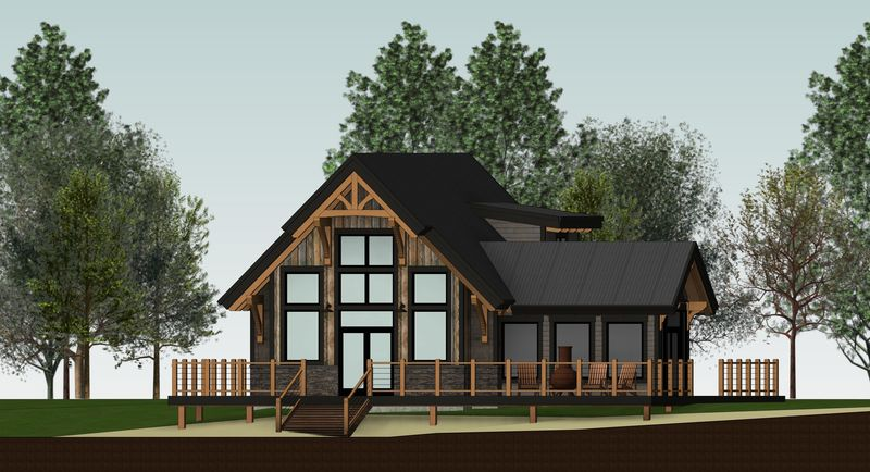 Sweetwater-Cabin-Canadian-Timberframes-Design-Left-Elevation