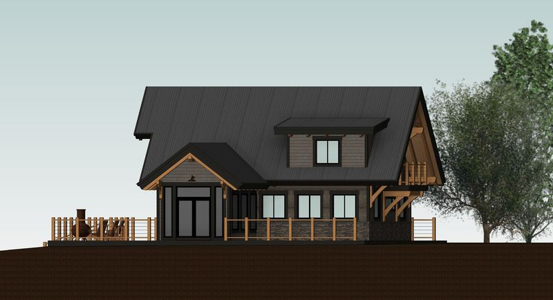 Sweetwater-Cabin-Canadian-Timberframes-Design-Right-Elevation