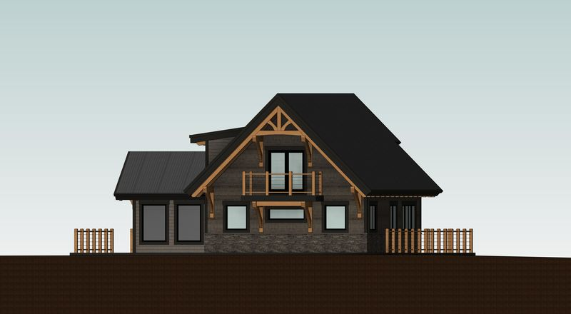 Sweetwater-Cabin-Canadian-Timberframes-Design-Rear-Elevation