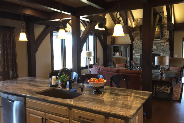 Black-Forest-Timber-Frame-Home-Colorado-Canadian-Timberframes-Kitchen-Great-Room