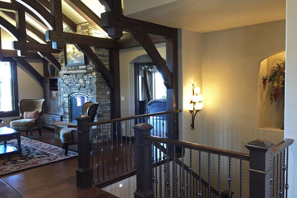 Black-Forest-Timber-Frame-Home-Colorado-Canadian-Timberframes-Staircase