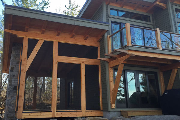 Split-Rock-Place-Sparrow-Lake-Ontario-Canadian-Timberframes-Exterior-Deck-Screened-Porch