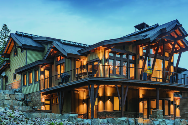 Kicking-Horse-Chalet-British-Columbia-Canadian-Timberframes-Night-Exterior
