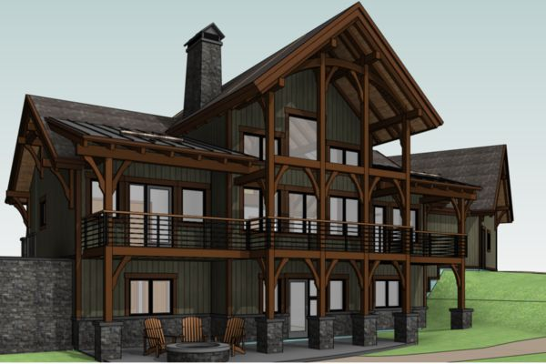 Yellowhead-Residence-Saskatoon-Canadian-Timberframes-Design-3D-Rear-Elevation