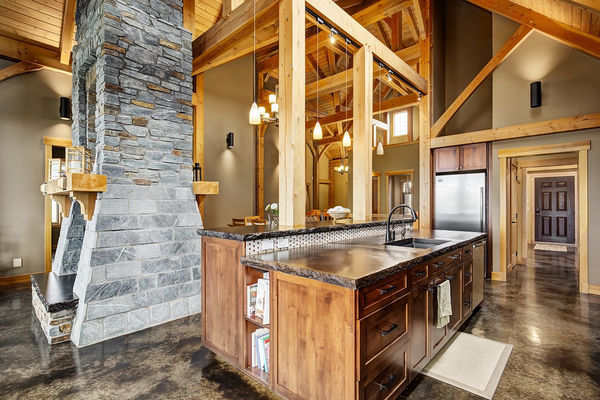 Foothills-of-Calgary-Alberta-Canadian-Timberframes-Kitchen-Fireplace