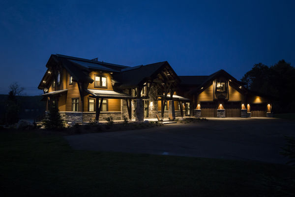 Lake-of-Bays-Haven-Ontario-Canadian-Timberframes-Night-Exterior