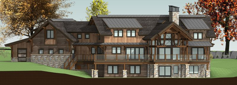 Lake-of-Bays-Canadian-Timberframes-Design-Rear-Elevation