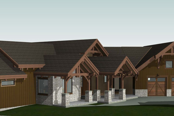 Colorado-Springs-Timber-Home-Canadian-Timberframes-Design-Front-elevation
