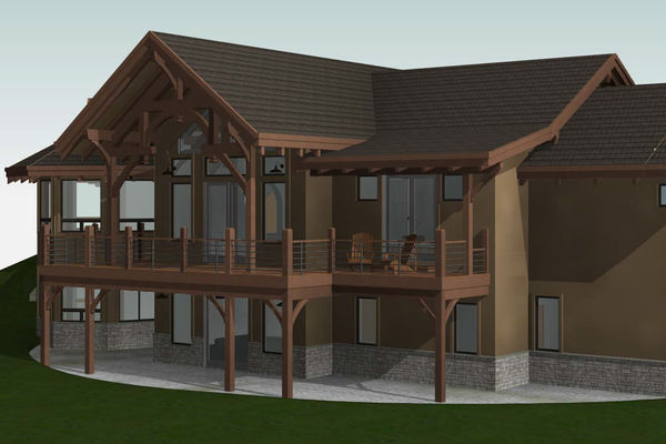 Colorado-Springs-Timber-Home-Canadian-Timberframes-Design-Rear-Left-Elevation