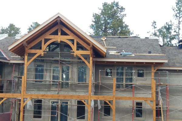 Colorado-Springs-Timber-Home-Construction-Rear-Exterior