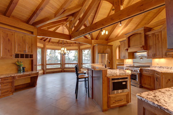 Colorado-Springs-Timber-Home-Canadian-Timberframes-Kitchen-Timber-Beams