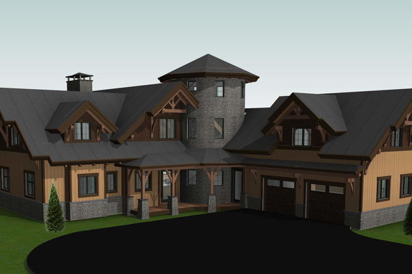 Lake Winnipesaukee-Timber-Frame-New-Hampshire-Canadian-Timberframes-Design-Front-Left-Elevation
