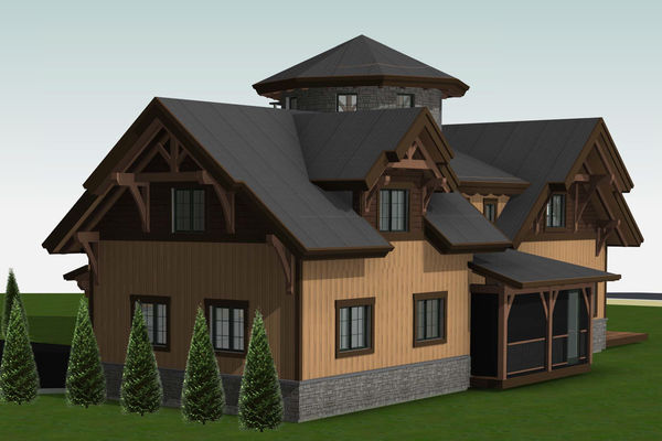 Lake Winnipesaukee-Timber-Frame-New-Hampshire-Canadian-Timberframes-Design-Front-Right-Elevation