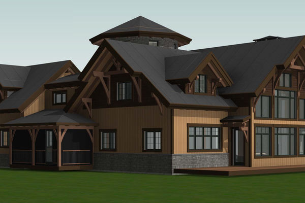 Lake Winnipesaukee-Timber-Frame-New-Hampshire-Canadian-Timberframes-Design-Rear-Left-Elevation