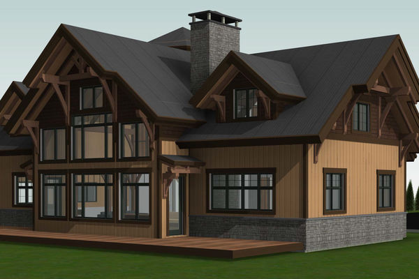 Lake Winnipesaukee-Timber-Frame-New-Hampshire-Canadian-Timberframes-Design-Rear-Right-Elevation