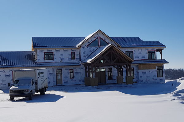 Red-Deer-Timber-Frame-Alberta-Canadian-Timberframes-Construction-Front-Exterior