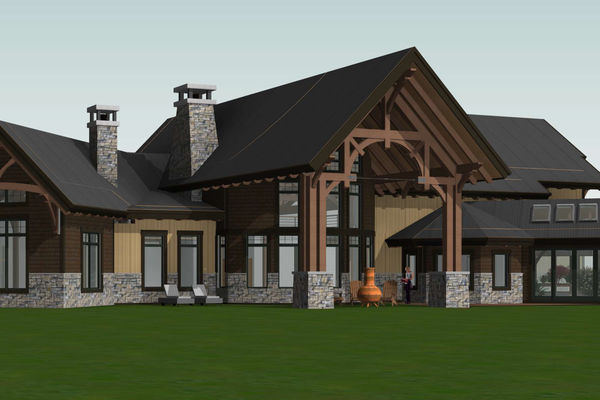 Timber-Creek-Ranch-Canadian-Timberframes-Ontario-Design-Rear-Left-Elevation
