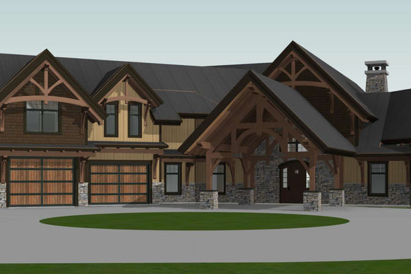 Timber-Creek-Ranch-Canadian-Timberframes-Ontario-Design-Front-Right-Elevation