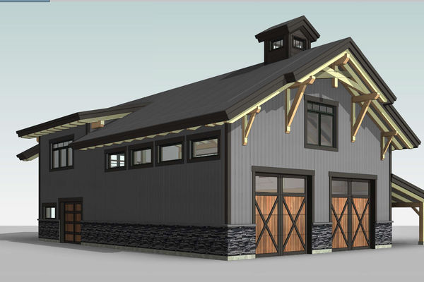 Golden-Creek-Barn-Design-British-Columbia-Canadian-Timberframes-Front-Left-Perspective