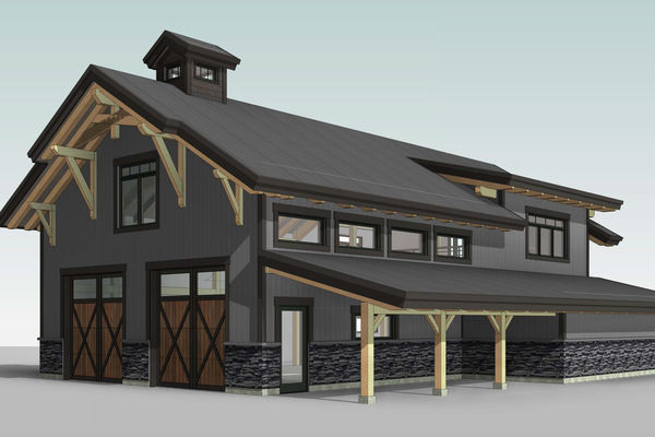 Golden-Creek-Barn-Design-British-Columbia-Canadian-Timberframes-Front-Right-Perspective
