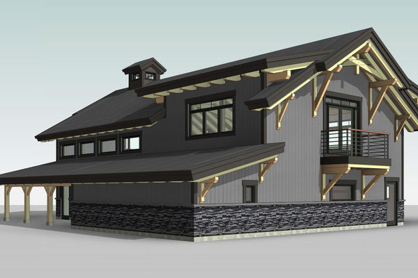 Golden-Creek-Barn-Design-British-Columbia-Canadian-Timberframes-Rear-Left-Perspective