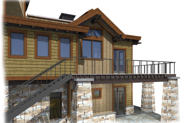 Kicking-Horse-Chalet-British-Columbia-Canadian-Timberframes-Design-Rear-Elevation