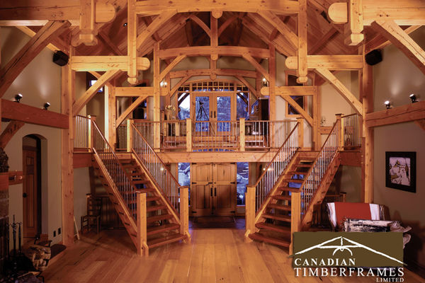 Osprey-Point-Invermere=British-Columbia-Canadian-Timberframes-Stairs-to-Second-Floor