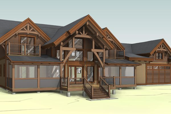 Lake-of-Woods-Cottage-Ontario-Canadian-Timberframes-Design-south-West-Perspective