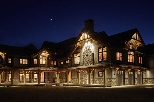 Hill-Top-Retreat-Collingwood-Ontario-Canadian-Timberframes-Night-Exterior