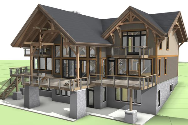 Osprey-Point-Invermere=British-Columbia-Canadian-Timberframes-Design-Rear-Elevation