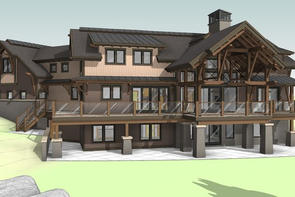 Lake-of-Bays-Haven-Ontario-Canadian-Timberframes-Design-Rear-Elevation