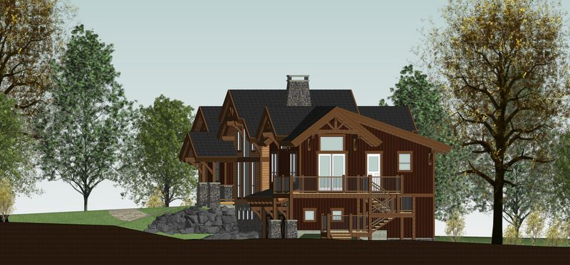 Rustic-Redstone-Canadian-Timberframes-Design-Right-Elevation