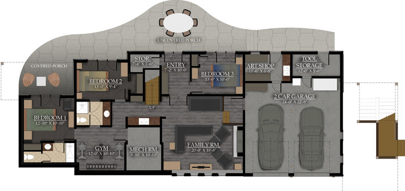 Lower level living space: 1386 sq.ft.