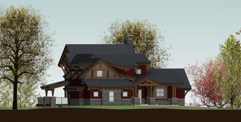 De-Winton-Steepe-Canadian-Timberframes-Design-Left-Elevation