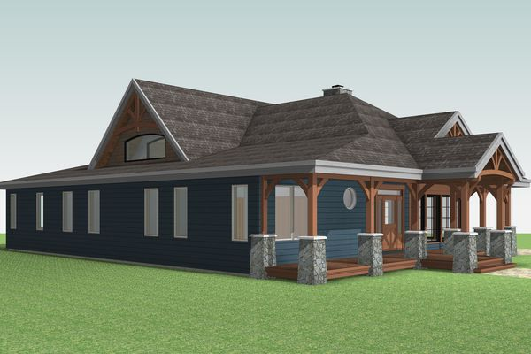 Cozy-Inlet-Kawartha-Lakes-Ontario-Canadian-Timberframes-Design-Front-Left-Elevation