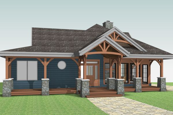 Cozy-Inlet-Kawartha-Lakes-Ontario-Canadian-Timberframes-Design-Front-Elevation
