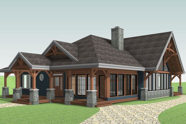 Cozy-Inlet-Kawartha-Lakes-Ontario-Canadian-Timberframes-Design-Front-Right-Elevation