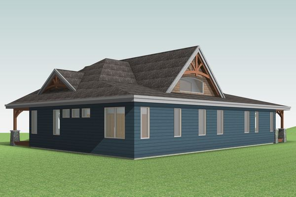 Cozy-Inlet-Kawartha-Lakes-Ontario-Canadian-Timberframes-Design-Rear-Left-Elevation