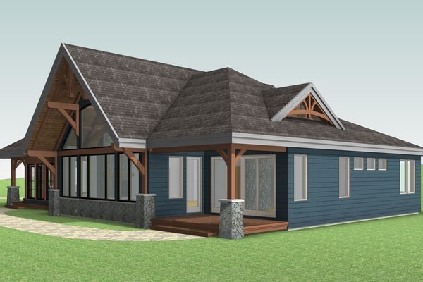 Cozy-Inlet-Kawartha-Lakes-Ontario-Canadian-Timberframes-Design-Rear-Right-Elevation