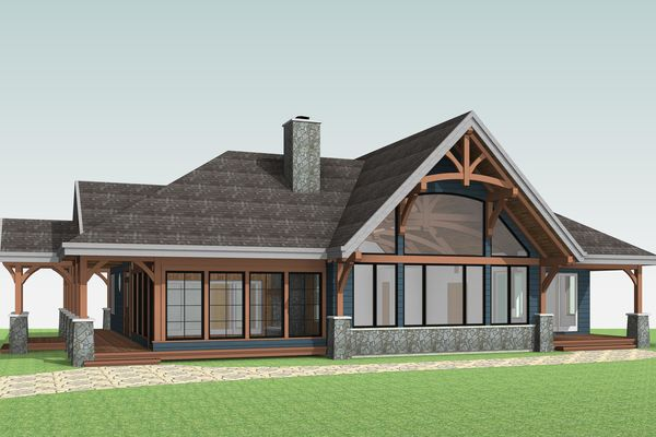 Cozy-Inlet-Kawartha-Lakes-Ontario-Canadian-Timberframes-Design-Right-Elevation