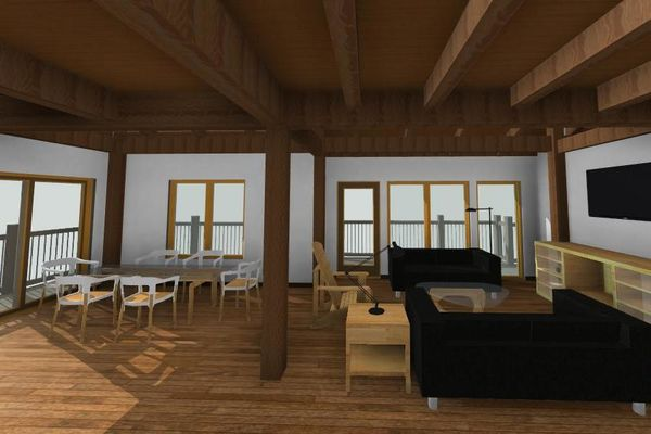 Guest-Boathouse-Muskoka-Ontario-Canadian-Timberframes-3D-Elevation-Interior