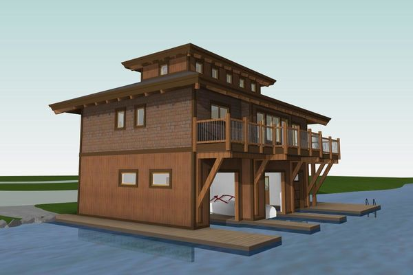 Guest-Boathouse-Muskoka-Ontario-Canadian-Timberframes-3D-Elevation-Rear-Left