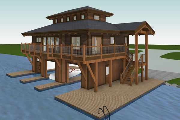 Guest-Boathouse-Muskoka-Ontario-Canadian-Timberframes-3D-Elevation-Rear-Right