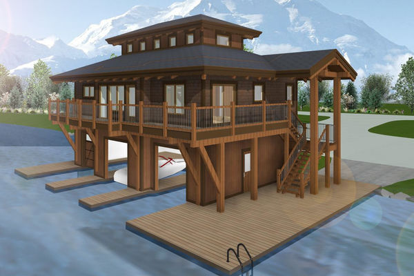 Guest-Boathouse-Muskoka-Ontario-Canadian-Timberframes-3D-Elevation