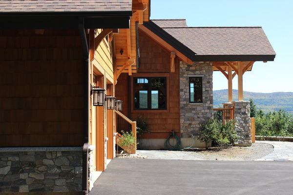 Bear-Rock-Colebrook-New-Hampshire-Canadian-Timberframes-Garage-Entry
