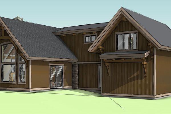 Clearview-Chalet-Collingwood-Ontario-Canadian-Timberframes-Design-Rear-Left-Perspective