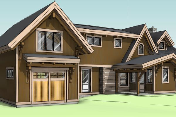 Clearview-Chalet-Collingwood-Ontario-Canadian-Timberframes-Design-Front-Left-Perspective